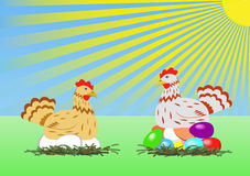 Chicken with easter eggs. Stock Photos