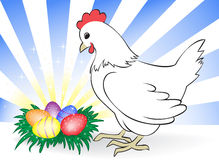 Chicken with easter eggs Royalty Free Stock Image