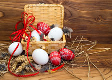 Chicken and Easter eggs. Stock Image