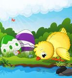 Chicken and Easter eggs near the creek. On a green spring meadow. Easter scene vector illustration