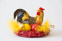 Chicken with easter eggs Royalty Free Stock Photography