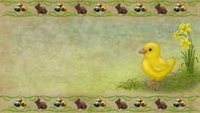 Chicken. Easter chicken rabbit Egg flower background Stock Photo