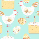 Chicken easter seamless pattern Stock Photography