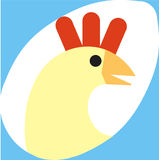 Chicken egg. Icon of the head of a chicken inside the shape of an egg Stock Images