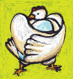 Chicken & egg. The chicken is hugging the egg. Painting illustration Royalty Free Stock Photography