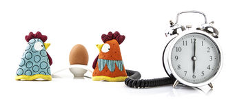 Chicken and egg with  alarm clock Stock Image