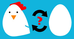 Chicken or egg. The chicken or the egg causality dilemma: which one came first Stock Photography