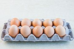 A chicken egg. Is in a container Stock Photos
