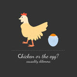 Chicken or the egg dilemma. Vector illustration in flat design style.  on dark black background Royalty Free Stock Photography