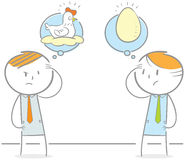 Chicken Or Egg. Doodle illustration of of of two people debating chicken and Egg Stock Photo