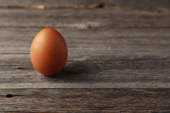 Chicken egg on grey wooden background. Royalty Free Stock Photo