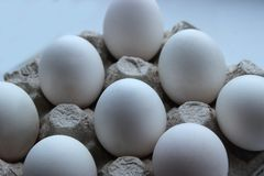 Chicken egg is half broken among other eggs royalty free stock photography