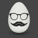Chicken Egg with hipster mask. Vector. Royalty Free Stock Images