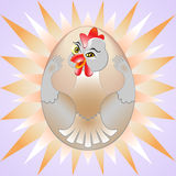 Chicken egg. Chicken hugging his Chicken egg and smiling Royalty Free Stock Photo