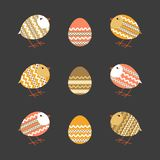 Chicken egg icon. Easter day chicken egg icon set. Cute colorful flat holiday symbols. Festive decorative vintage, retro color. Traditional pattern ornate Stock Images