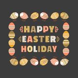 Chicken egg icon. Happy Easter day chicken egg background. Cute colorful holiday text. Festive decorative vintage, retro color. Traditional pattern ornate Stock Photography