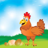 Chicken with egg on the meadow with beautiful blue sky background. Chicken with egg Royalty Free Stock Photography