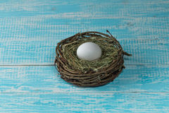 Chicken egg in a nest. Chicken eggs in the nest decorated background Provence Stock Image