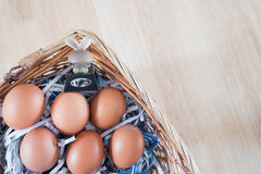 The chicken egg and rabbit in the basket. Easter time, Happy time. Jesus rise again Royalty Free Stock Image