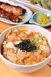 Chicken and egg rice bowl  Stock Image