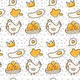 Chicken and egg seamless pattern in kawaii doodle style vector illustration. Can be use as background, greeting card etc vector illustration