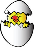 Chicken in egg. Vector illustration Stock Images