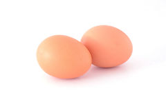 Chicken egg on white Stock Photos
