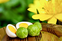 Free Chicken Eggs And Brussels Sprouts Royalty Free Stock Photo - 48218015