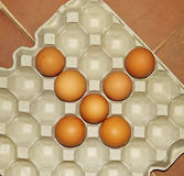 Chicken eggs arranged. In paper  egg tray Stock Photo