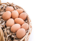 Chicken eggs in the bamboo basket. Closeup of Chicken eggs in the bamboo basket and  isolated on white background Stock Images