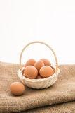 Chicken eggs in the bamboo basket Stock Photography