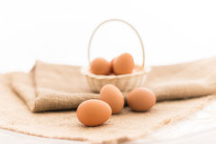 Chicken eggs in the bamboo basket Royalty Free Stock Photography