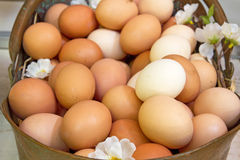 Chicken eggs in a basket. Chicken eggs on a market stock image