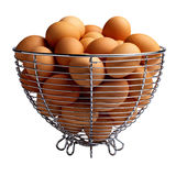Chicken eggs in basket Stock Photo
