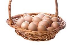 Chicken Eggs in Basket Stock Image