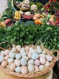 Chicken eggs in the basket against the background of a street shop stock images