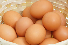 Chicken eggs in the basket. Close-up Royalty Free Stock Photo