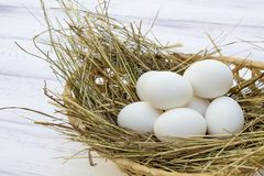 Chicken eggs in basket with hay on a white wooden background Stock Photography