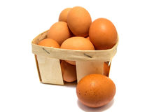 Chicken eggs in a basket isolated on white Stock Images