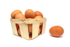 Chicken eggs in a basket isolated Royalty Free Stock Image