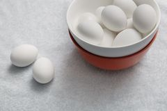 Chicken eggs in bowl Royalty Free Stock Photo