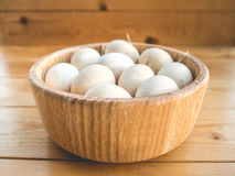 Chicken eggs in a bowl. Royalty Free Stock Image
