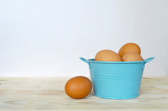 Chicken eggs in the bowl Royalty Free Stock Photo