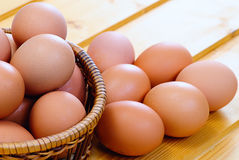Chicken eggs of brown color Royalty Free Stock Photo