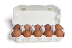 Chicken eggs in cardboard package Stock Images