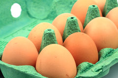 Chicken eggs in carton Royalty Free Stock Photos