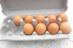 Chicken eggs in carton Royalty Free Stock Images