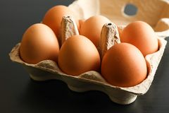 Chicken eggs in carton box on black background stock photography