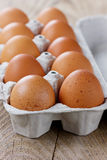 Chicken eggs in a carton box Stock Images