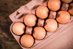 Chicken eggs in carton tray Royalty Free Stock Images